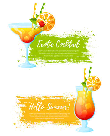 Set of vector banners with summer tropical cocktails. Paint brush strokes with place for text. Colorful modern illustrations isolated on a white background. Иллюстрация
