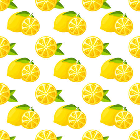 Seamless pattern with lemons. Vector background with citrus fruit and leaves.