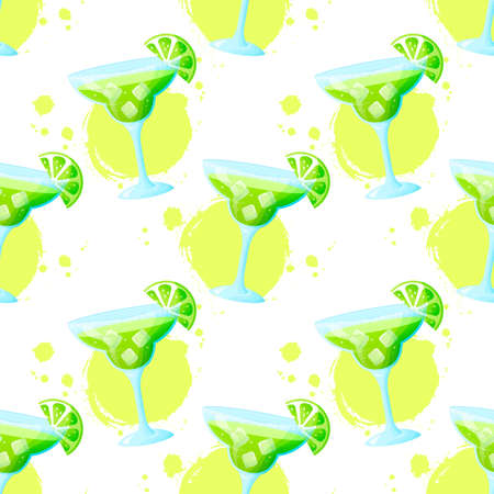 Seamless pattern with Margarita cocktail. Raster background with refreshing summer drink and paint spots. Фото со стока