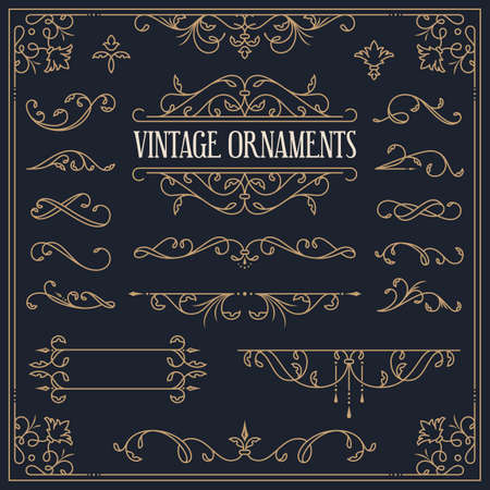 Vector vintage ornaments - decorative borders, dividers, vignettes, flourishes, frame. Set of golden design elements isolated on dark background.