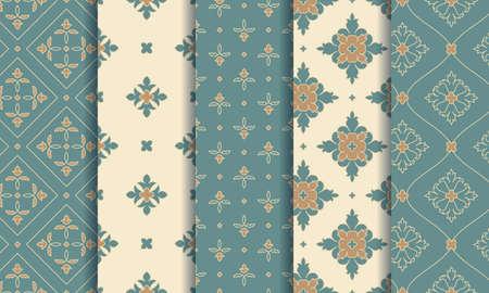 Vintage seamless patterns. Elegant abstract ornaments. Vector set.