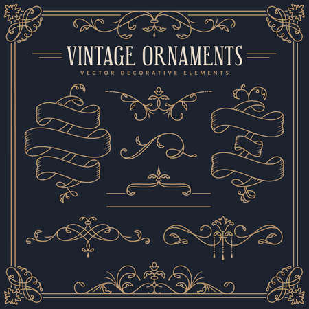 Ribbons, decorative borders, dividers, flourishes, frame. Vector vintage ornaments. Set of golden design elements isolated on dark background.