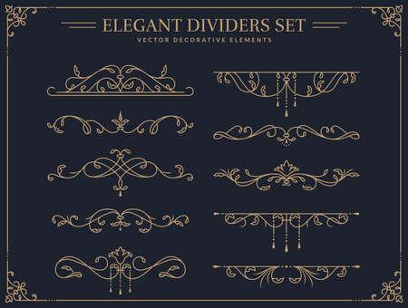 Vintage border ornaments. Set of isolated decorative dividers. Flourish vector design elements for wedding invitation, restaurant menu, certificate, page decoration etc. Vectores