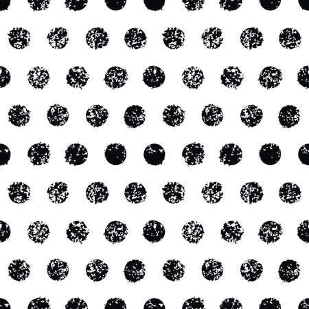 Grunge polka dot seamless pattern. White and black background. Vector texture.