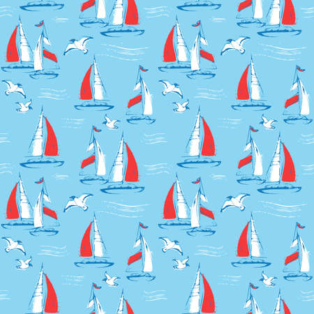 Nautical seamless pattern with sail boats and seagulls. Sea background. Vector illustration. Иллюстрация