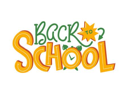 Back to school - hand lettering. Modern handwritten inscription. Vector illustration isolated on white background.