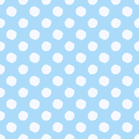 Polka dot seamless pattern. White and blue spotted background. Vector hand-drawn texture. Иллюстрация