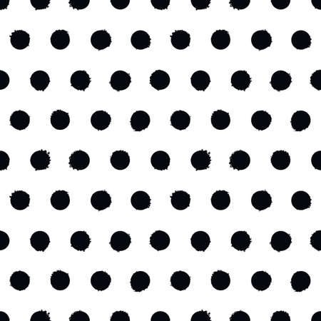 Spotted seamless pattern. White and black polka dot background. Vector hand-drawn texture. Иллюстрация