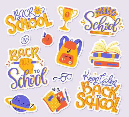 School sticker pack - books, copybooks, backpack, planet, apple, glasses, A + grade mark, cup. Back to School hand letterings. Vector set of modern illustrations.
