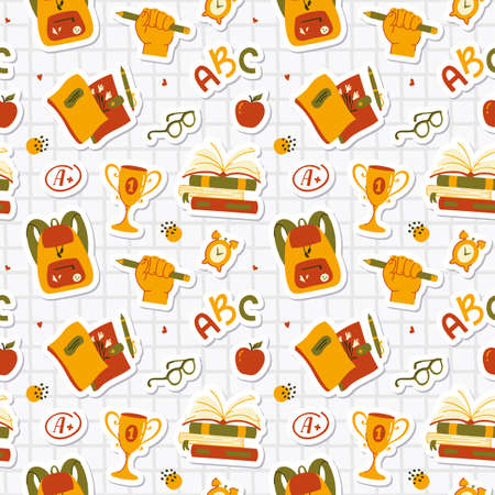 Back to School. Seamless pattern with school-themed stickers - books, backpacks, notebooks, apples, glasses, etc. Stylish vector background.