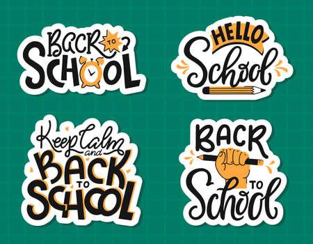 Back to School - hand lettering. Modern handwritten inscriptions. Vector sticker set. Vectores