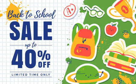 Back to school sale banner. Colorful promo template for school-themed discounts. Vector.
