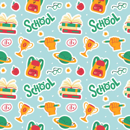 School seamless pattern with books, backpacks, planets, apples, glasses and hand letterings. Funny vector background.