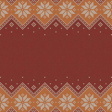 Knitted background with copyspace. Brown and beige sweater pattern for autumn or winter design. Traditional scandinavian border ornaments and place for text. Vector illustration.