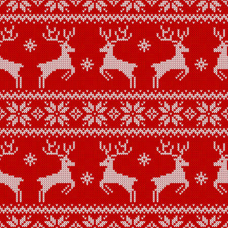 Knitted seamless pattern with deers, and traditional scandinavian ornament. Red and white sweater background for Christmas, New Year or winter design. Vector illustration.