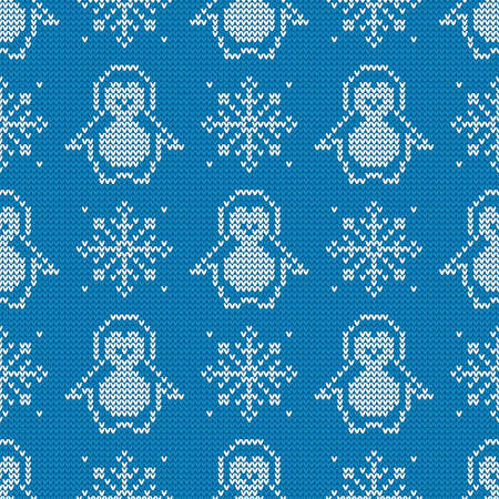 Knitted seamless pattern with penguins and snowflakes. Winter sweater background. Vector illustration.