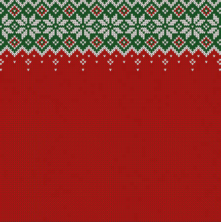 Knitted background with copyspace. Red, green and white sweater pattern for Christmas, New Year or winter design. Traditional scandinavian border ornament and place for text. Vector illustration. Vectores