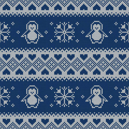 Knitted seamless pattern with penguins, snowflakes, and hearts. Winter sweater background. Vector illustration.