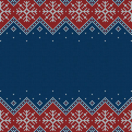 Knitted background with snowflakes and copyspace. Blue, red and white pattern for Christmas, New Year or winter design. Sweater  border ornaments and place for text. Vector illustration.
