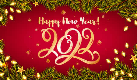 Happy New Year greeting card with hand lettering 2022. Horizontal banner with golden handwritten figures, Christmas tree branches and luminous garlands. Vector illustration.
