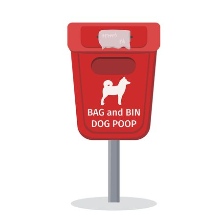 Dog waste bin with a text - Bag and bin dog poop.