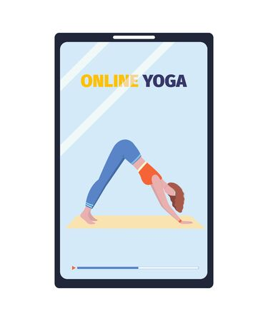 Online yoga classes on modibe device. Fitness and workout from home. Vector illustration.