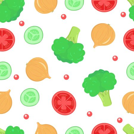 Vegetables seamless pattern. Colorful vegetarian food background. Vector design for textile, fabric, wallpaper.