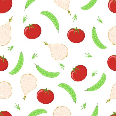 Vegetables seamless pattern. Tomatoes, onions and peas vector. Illustration design for wallpaper, textile, fabric.