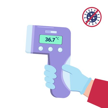 Hand in glove holding infrared contactless thermometer for body temperature check. Coronavirus prevention concept. Vector illustration in flat style. Design for poster, banner.