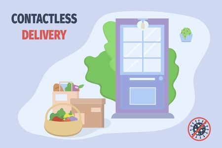 Non-contact delivery during coronavirus epidemic. Online shopping and deliver of goods to door. Vector illustration in flat style for poster, banner.