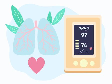Pulse oximeter vector. Detection of lungs infections and coronavirus. Medical device for monotoring of oxygen saturation in blood. Vector illustration in flat style for poster, banner.