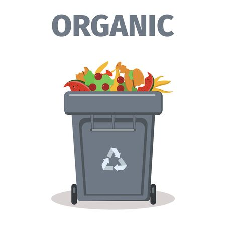 Garbage or trash can for organic products. Recycling waste container. Vector illustration in flat style. Isolated on white background.