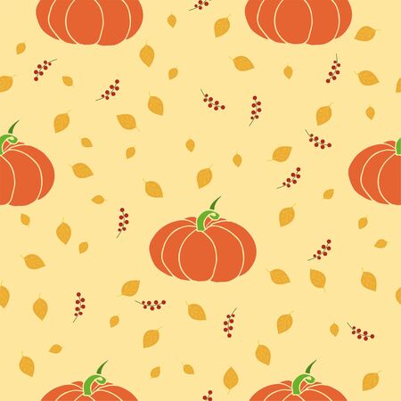 Seamless vector pattern with pumpkins and autumn leaves, hand drawn background. Vector illustration for textile, wrapping, wallpaper.
