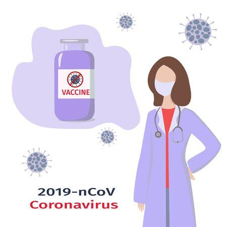 Coronavirus vaccine and doctor. Medicine concept. Fighting covid-19. Vector illustration in flat style.