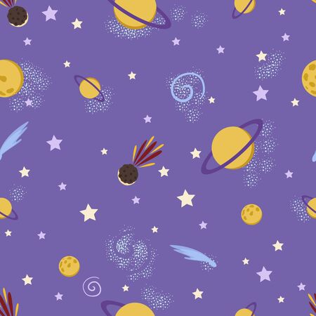 Cute doodle space seamless pattern. Cosmic background with stars, planets. Vector for textile, wallpaper, nursery.  イラスト・ベクター素材