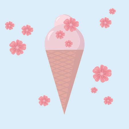 Ice cream icon. Icecream with sakura flowers vector. Isolated on light blue background. Vector in flat style.