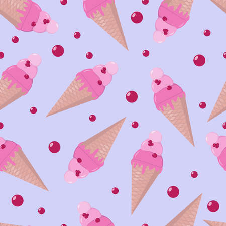 Cute ice cream cones with berries. Seamless pattern. Vector illustration for background, textile, wrapping.