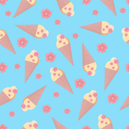 Colorful ice cream cones with sakura flowers seamless pattern. Vector illustration for textile, wrapping, wallpaper. Stock Illustratie
