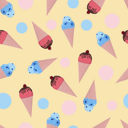 Colorful ice creams and dots seamless pattern. Cartoon summer background. Vector illustration for textile, wallpaper, wrapping.