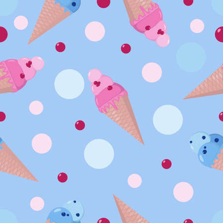 Cute ice cream cones and colorful dots seamless pattern. Vector design for wallpaper, textile, wrapping, cards.
