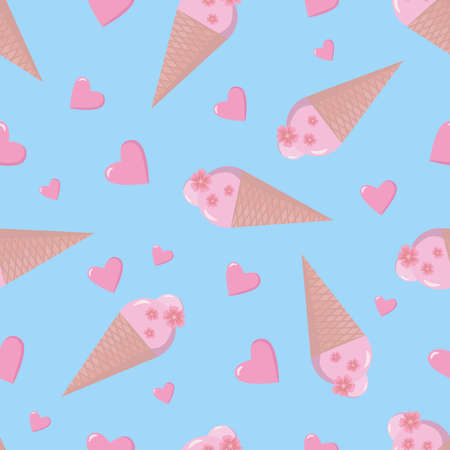 Ice cream cones with pink hearts and flowers seamless pattern. Vector illustration for wallpaper, greeting card, textile.