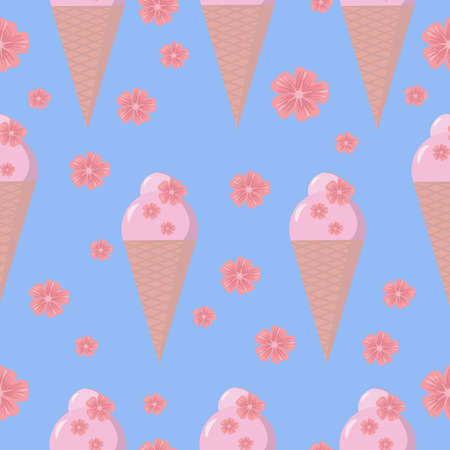 Colorful ice cream cone with sakura flowers. Vector illustration for textile, fabric, wrapping. Stock Illustratie
