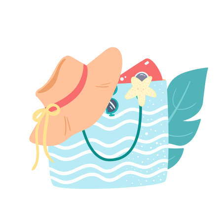 Blue and white striped summer beach bag with hat, camera, starfish and palm leave. Sea vacation concept. Vector design for print, magazine, card, poster.