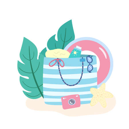 Colorful summer beach bag with accessories for swimming. Holiday vacation concept. Tropical design with palm leaves. Vector illustration for poster, print, card.