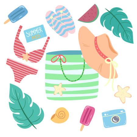 Beach accessories vector set. Summer elements isolated on white background. Illustration for stickers, poster, banner.