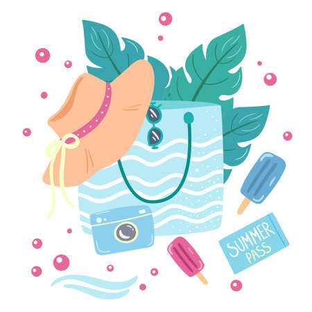 Beach bag with summer hat, sunglasses, palm leaves. Summertime vacation by the sea concept. Vector illustration in flat style. Design for card, magazine, poster, banner.