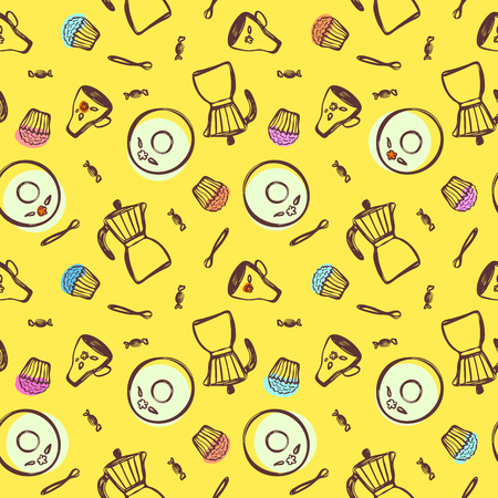 Colored items for coffee and tea in a hand-drawn manner such as geyser coffee maker, saucer, cup, spoon, candy and a cupcake on a yellow background.