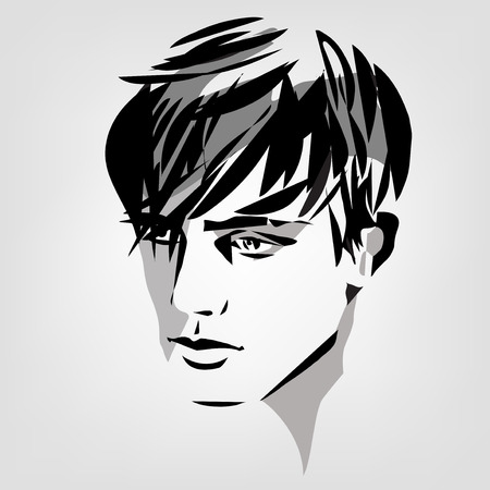 vector monochrome portrait of young man  イラスト・ベクター素材