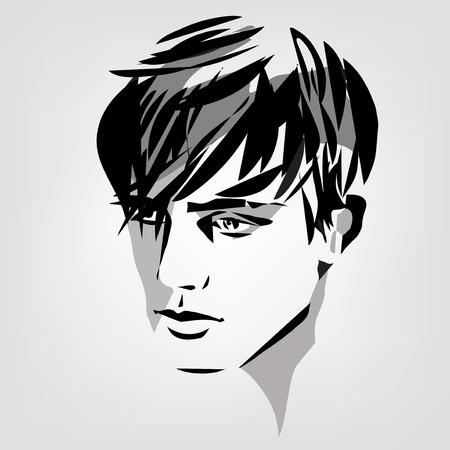 vector monochrome portrait of young man Illustration