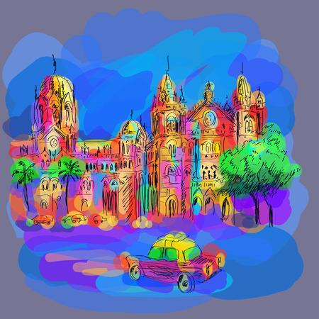 metropolitan: consecrated station in an area of Mumbai Illustration